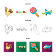 Children toy cartoon,outline,flat icons in set collection for design. Game and bauble vector symbol stock web illustration.