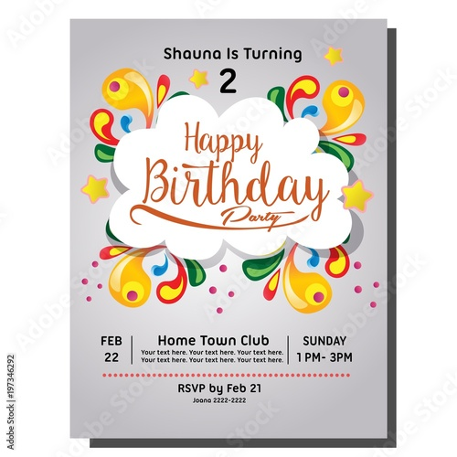 2nd Birthday Party Invitation Card Buy This Stock Vector And