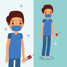 Doctor Medical Character With Mask And Blood Syringe  Vector Illustration