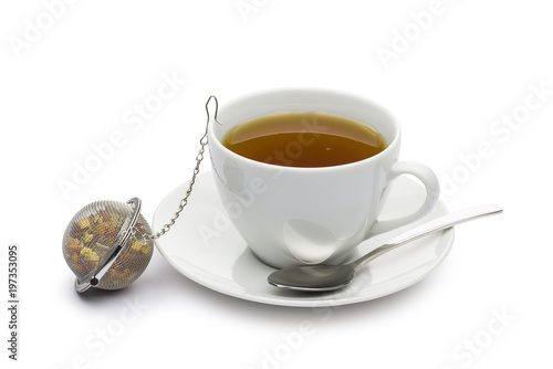 Fotografia, Obraz  cup of tea with infuser on white background