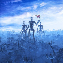 Tech Meets Nature / 3D Illustration Of Androids In Alien Landscape Finding Butterfly