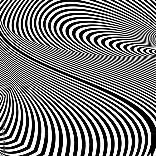 Abstract black and white striped background. Geometric pattern with visual distortion effect. Illusion of rotation. Op art.