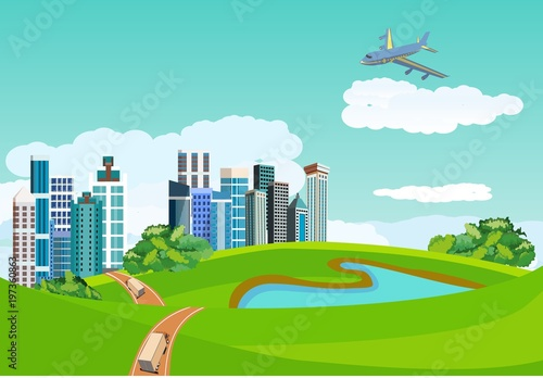 Canvas Prints Green coral Countryside landscape concept. City buildings in green hills, blue lake, road ribbon, plane in the sky, vector illustration.