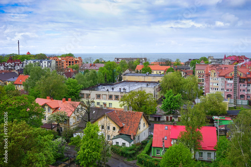 Photo Stands Kiev View of the city Zelenogradsk from a height.