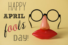 Novelty Glasses And Text Happy April Fools Day