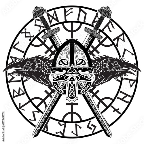 Fotografía  Viking helmet, crossed viking sword in a circle of Scandinavian runes and two ra