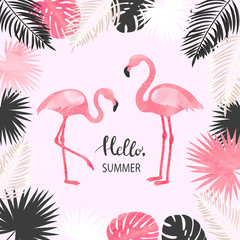 Fototapeta Summer tropical vector illustration with watercolor flamingo and palm leaves.