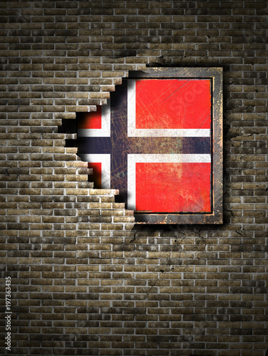 Photo  Old Norway flag in brick wall