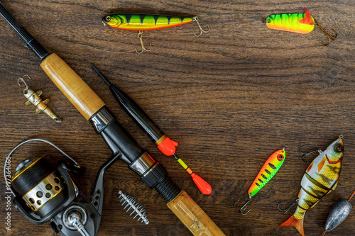 Foto op Aluminium Background or background of fishing tackle.