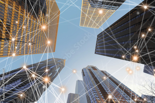 Fotografie, Obraz  Digital network connection lines of architectures, skyscrapers in Chicago City w