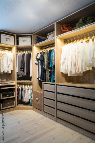 Fotografering Luxury walk in closet / dressing room with lighting and jewel display