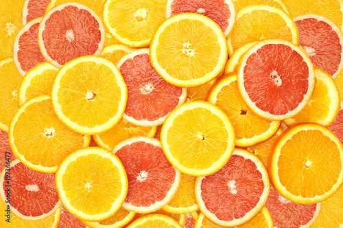 Poster Fruit slices of oranges and slices of grapefruit