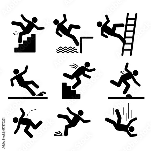 Set of caution symbols with stick figure man falling. Falling down the stairs and over the edge. Wet floor, tripping on stairs. Workplace safety. Vector illustration. Isolated on white background - 197370221