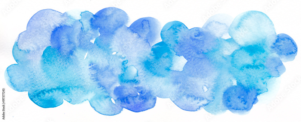 Fototapety, obrazy: Watercolor abstract background. Hand painted watercolor background. Blue.
