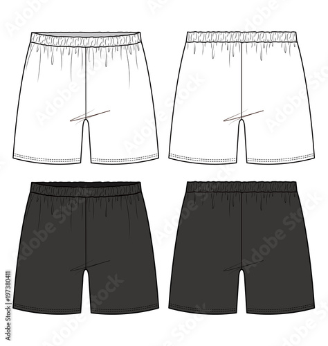 Shorts Pants fashion flat technical drawing template