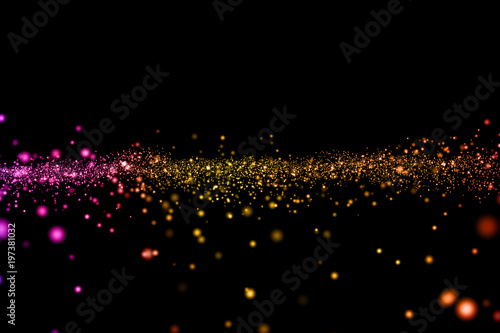 christmas digital glitter sparks multi color particles bokeh flowing on colorful background holiday festive happy