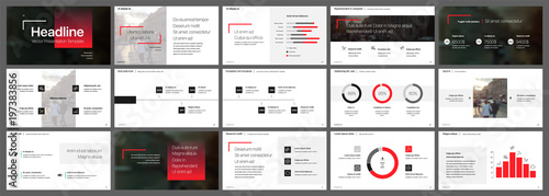 Red and black elements for infographics on a white background Fototapeta