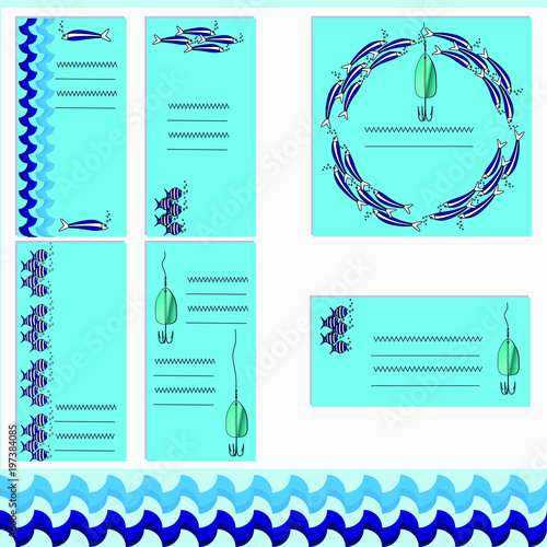 Staande foto Dolfijnen Vector set templates with fishing float and flocks of fish. Colorful drawing on soft blue background. Can be used in postcards, posters, textiles, announcements, advertisement, logo for fishing club.