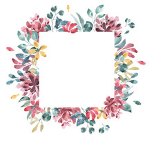 Blossoms Collection. Watercolor Flower And Floral Geometric Frame #2