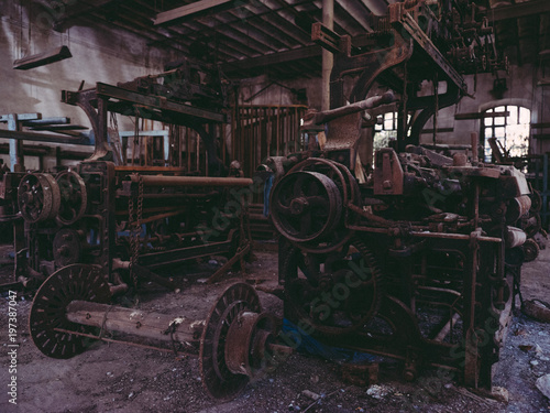 Different old machines on factory