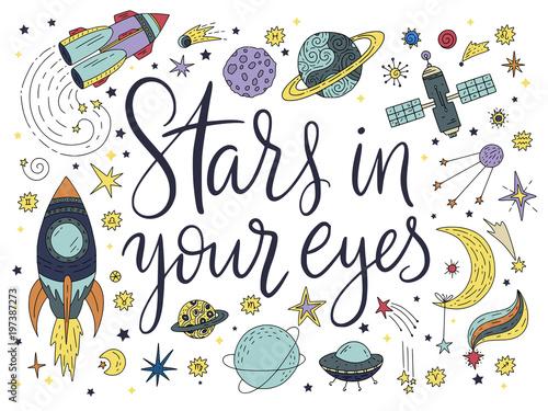 Handdrawn napis cytat z ilustracjami galaktyki.