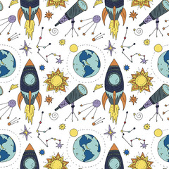 Panel Szklany Kosmos Seamless pattern with cosmos doodle illustrations.