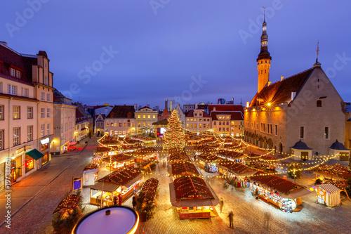 Tallinn. Town Hall Square at Christmas.