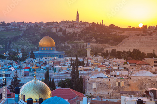 Deurstickers Midden Oosten Jerusalem. Cityscape image of Jerusalem, Israel with Dome of the Rock at sunrise.