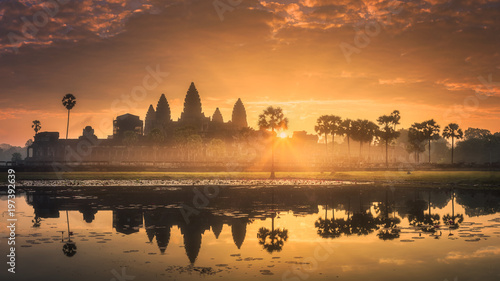 Sunrise view of ancient temple complex Angkor Wat Siem Reap, Cambodia Canvas Print