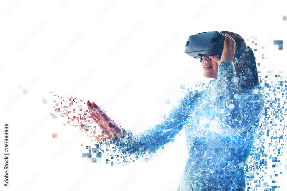 Fototapeta A person in virtual glasses flies to pixels. The woman with glasses of virtual reality. Future technology concept. Modern imaging technology. Fragmented by pixels.