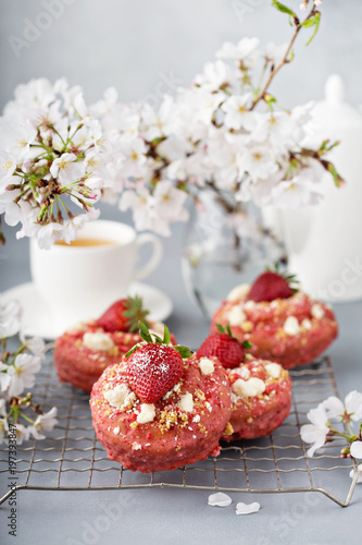 Strawberry shortcake donuts on a cooling rack Canvas Print