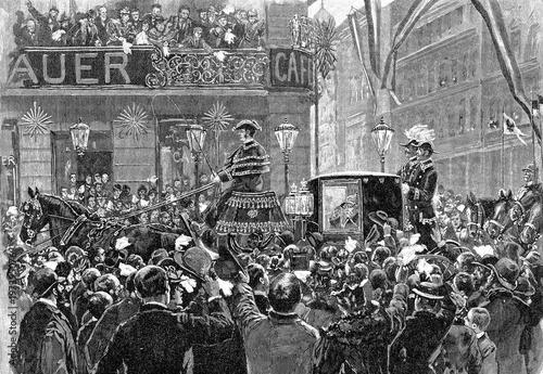 Cuadros en Lienzo Einzug von Fürst Bismarck in Berlin: Unter den Linden