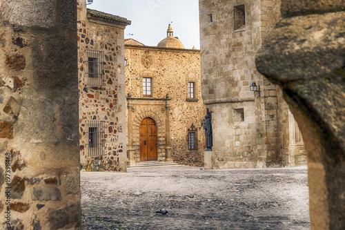 Obraz na plátně medieval city center of caceres spain