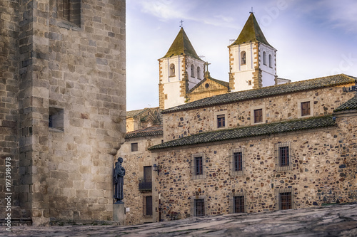 medieval city center of caceres spain