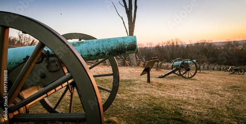 Fotografie, Obraz  cannon at Gettysburg at sunrise
