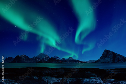 Photo sur Aluminium Aurore polaire Northern Lights, Aurora Borealis shining green in night starry sky at winter Lofoten Islands, Norway
