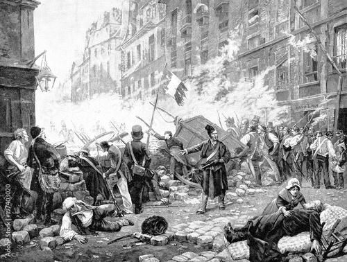 Fotografie, Obraz  Eine Barrikade in Paris im Juli 1830, Julirevolution