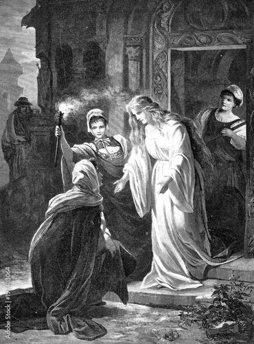 Fotografie, Obraz  Aus Richard Wagners Lohengrin: Ortrud auf den Knien vor Elsa von Brabant