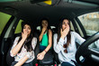 Three girls tried to avoid the car accident.