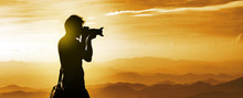 Silhouette Of A Backpacker Pho...