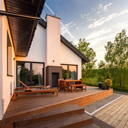 Leinwand Poster Modern villa with terrace