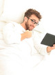 background image . modern man with digital tablet