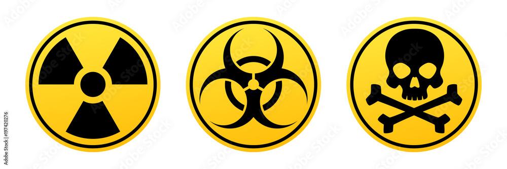 Fototapeta Danger yellow vector signs. Radiation sign, Biohazard sign, Toxic sign.