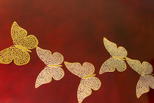 Gold Carved Butterflies, Decorative Butterfly On Red Background