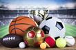 Winner trophy, Sport equipment and balls