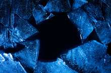 Photo Texture Of A Broken Blue Lightened And Toned Ice With Copyspace.