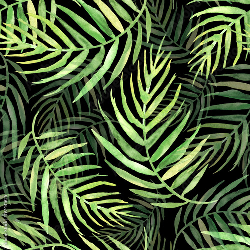 Ingelijste posters Tropische Bladeren Seamless watercolor pattern, background. Palm leaf background, postcard. Green tropical palm leaf. Illustration for design wedding invitations, greeting cards, postcards. On a black background