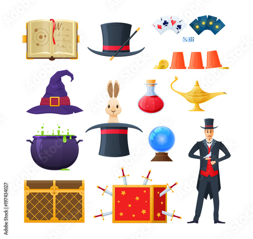 Cuadros en Lienzo Concept magic, clothing, potions, tools and accessories