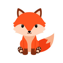 Cute Cartoon Fox In Modern Sim...