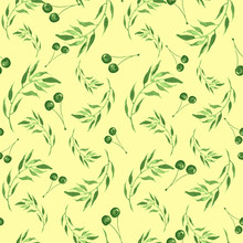 Watercolor Seamless Yellow Background With Green Berries Of Cherries, Leaves. A Beautiful Vintage Pattern, An Ornament For Your Design, Wallpaper, Textiles, Packaging, Cards. Fashionable Art Drawing